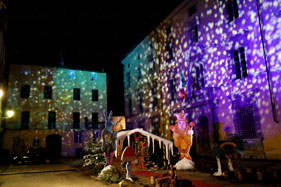 Lucca, christmas and puccini's anniversary projections