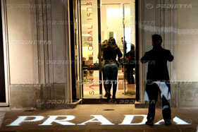 prada's shop logo projections